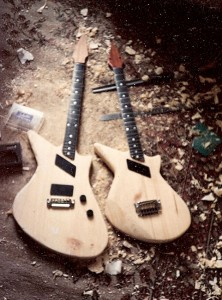 Egypt Guitars prototypes side by side and a filthy carpet!